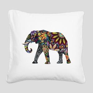 Colorful Elephant Square Canvas Pillow
