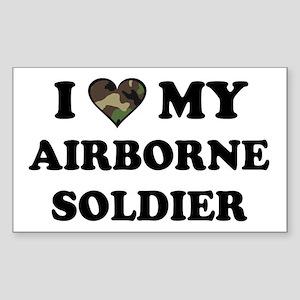 I heart love my Airborne Soldier Sticker (Rectangu