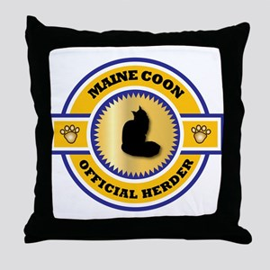 Maine Coon Herder Throw Pillow