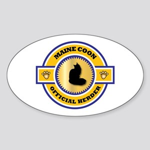 Maine Coon Herder Oval Sticker