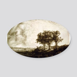 The three trees - Rembrandt - 1643 Oval Car Magnet