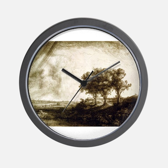 The three trees - Rembrandt - 1643 Wall Clock