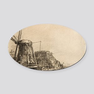 The Windmill - Rembrandt - c1641 Oval Car Magnet