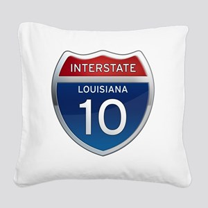 Interstate 10 - Louisiana Square Canvas Pillow