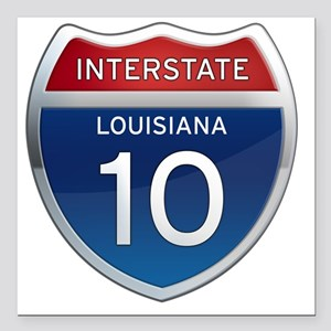 "Interstate 10 - Louisian Square Car Magnet 3"" x 3"""