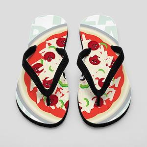 happy pizza Flip Flops