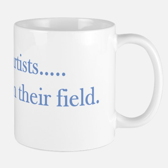 Outstanding in their field blue Mug