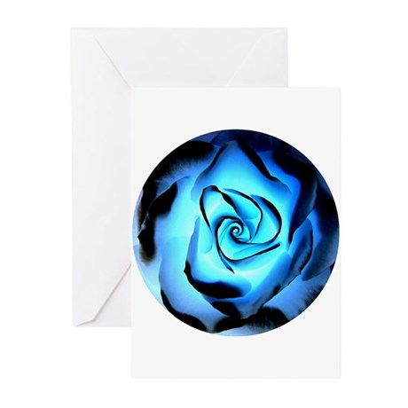 """""""Rose of Blue Flame"""" Greeting Cards (Pk of 10)"""