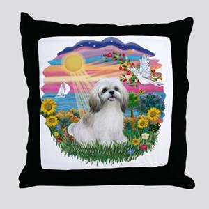 AutumnSun-ShihTzu (wt) Throw Pillow