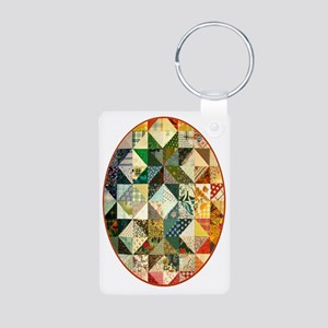 patchwk ornament_oval Aluminum Photo Keychain