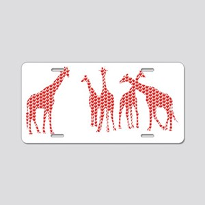 Giraffes 04 hearts Aluminum License Plate