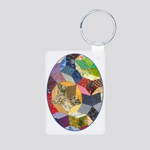 Quilt two ornament_oval Aluminum Photo Keychain