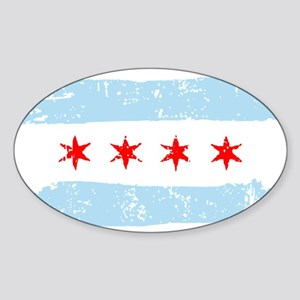 Flag of Chicago Sticker (Oval)