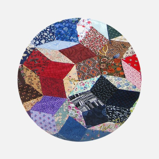 Quilt one 11x11_pillow Round Ornament