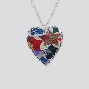 Quilt one 11x11_pillow Necklace Heart Charm