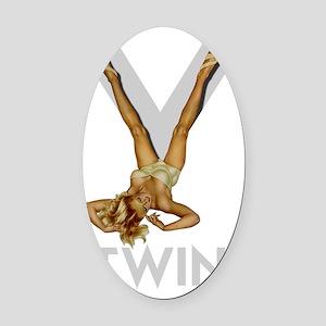 v-TWIN FOR DARK Oval Car Magnet
