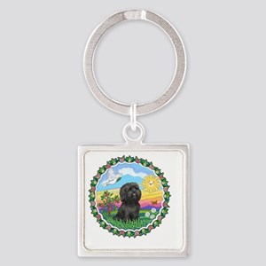 Wreath1-Black Shih Tzu Square Keychain