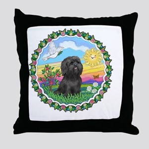 Wreath1-Black Shih Tzu Throw Pillow