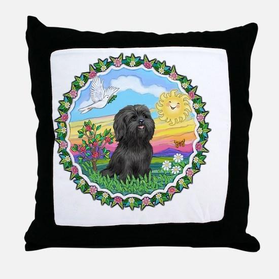 Wreath1-Black Shih Tzu Throw Pillow