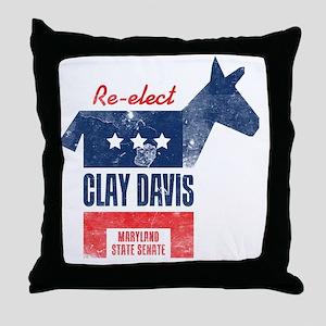 reelectClayDavis_print_11x17 Throw Pillow