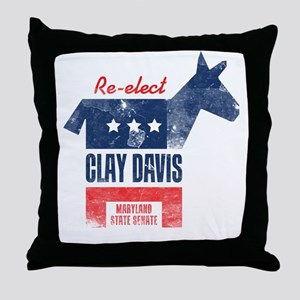 reelectClayDavis_print_23x35 Throw Pillow