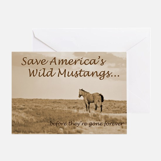 Stallion 3-Sepia Save the Mustangs b Greeting Card