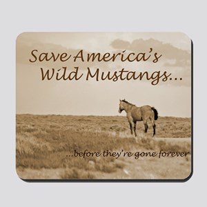 Stallion 3-Sepia Save the Mustangs befor Mousepad
