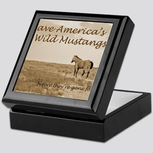 Stallion 3-Sepia Save the Mustangs be Keepsake Box