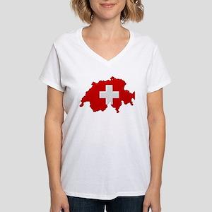 """Pixel Switzerland"" Women's V-Neck T-Shirt"