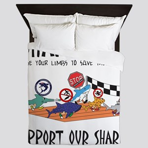 Shark Run Black Text Queen Duvet