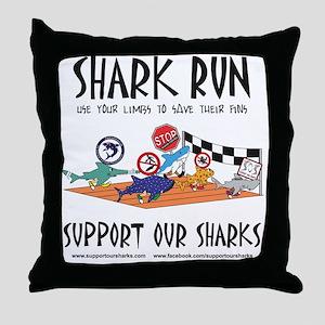 Shark Run Black Text Throw Pillow