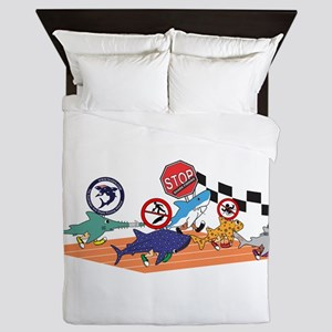 Shark Run White Text Queen Duvet
