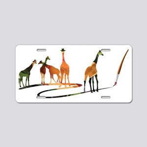 Giraffes 04 paintbrush rose Aluminum License Plate