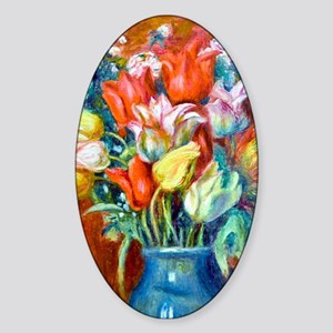K/N Renoir Tulips Sticker (Oval)