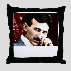 Tesla_white Throw Pillow
