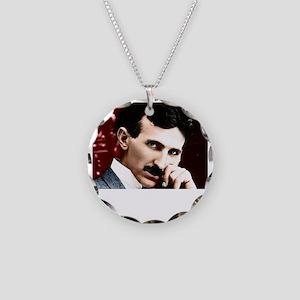 Tesla_white Necklace Circle Charm