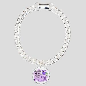 purple Owl Bkgd  Charm Bracelet, One Charm