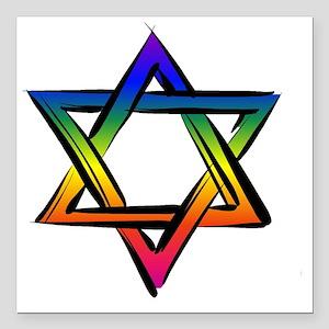 "LGBT Star Of David Square Car Magnet 3"" x 3"""