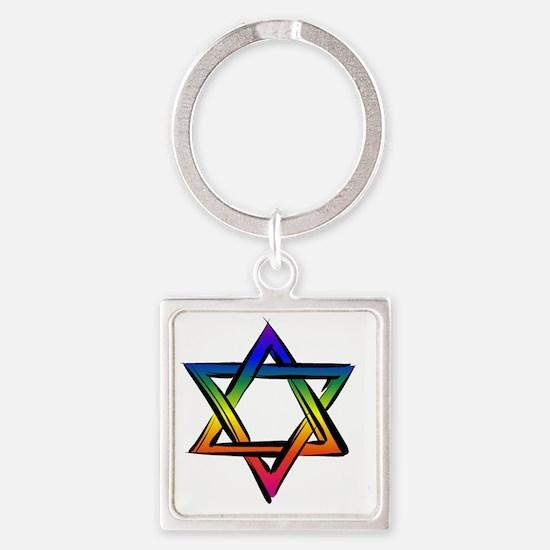 LGBT Star Of David Square Keychain