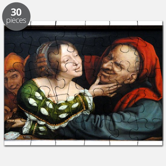 Ill-Matched Lovers - Quinten Massys - c 1520 Puzzl