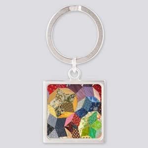 Quilt two_Tile Square Keychain