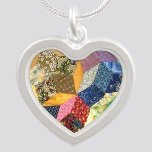 Quilt two_Tile Silver Heart Necklace