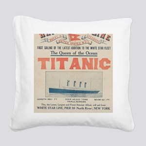 Titanic Ad Card BIG Square Canvas Pillow