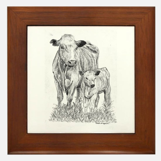 Cow & Calf  Framed Tile