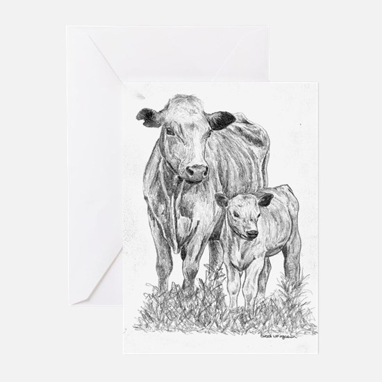 Cow & Calf  Greeting Cards (Pk of 10)