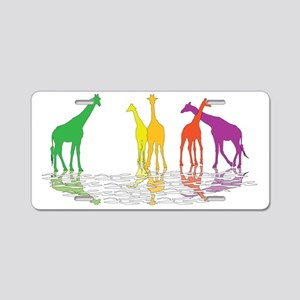 Giraffes 04 reflection Aluminum License Plate