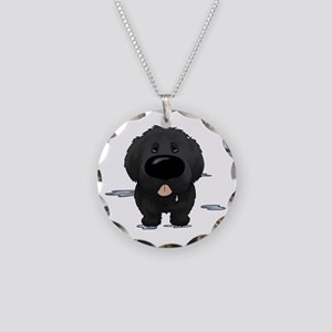 NewfieDroolDark Necklace Circle Charm