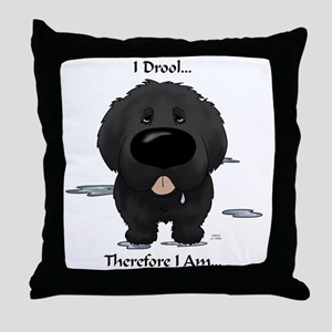 NewfieDroolLight Throw Pillow