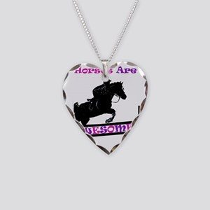 horses_are_awesome2 Necklace Heart Charm
