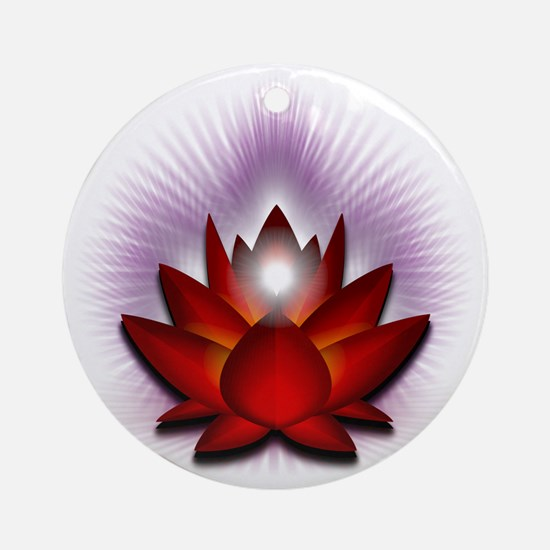 Chakra Lotus - Red Round Ornament